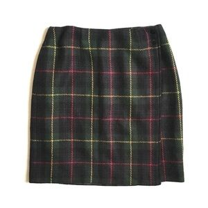 Talbot's Plaid Wrap Skirt With Button Closure